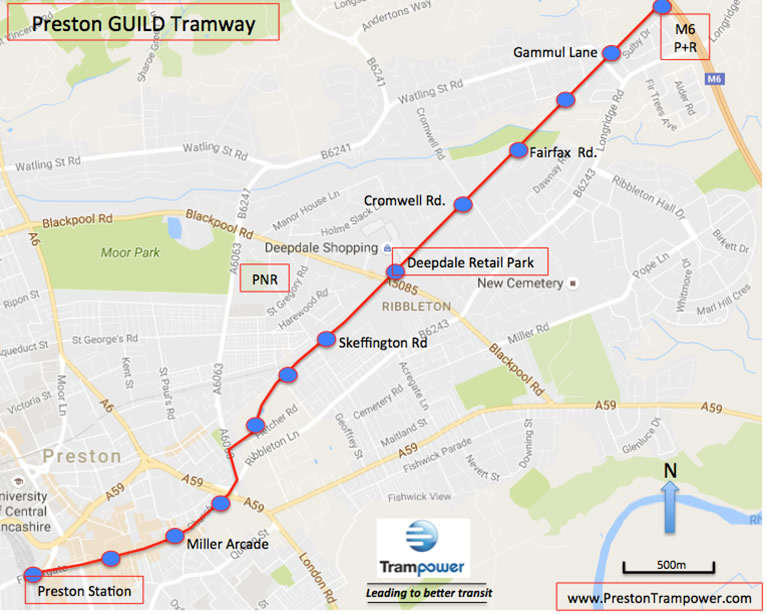 Entire route of the proposed Preston Guild Tramway